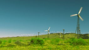 Wide Angle Wind Farm Daytime stock video