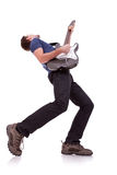 Wide angle of a young guitarist royalty free stock photo