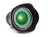 Wide angle zoom lens with hood Stock Images