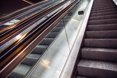 Wide angled view to perspective escalators stairway Stock Image