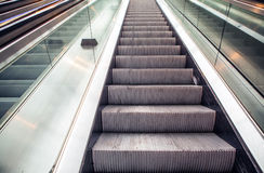 Wide angled view to perspective escalators stairway Royalty Free Stock Photo