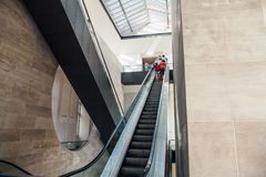 Wide angled view to perspective escalators stairway. Royalty Free Stock Image