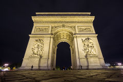 Wide Arc de Triomphe at night. Night time in Arc de Triomphe, wide angle Stock Photo