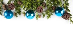 Wide arch shaped Christmas border isolated on white royalty free stock image