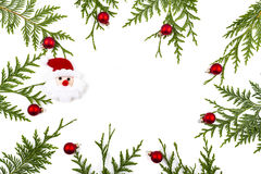 Wide arch shaped Christmas border on white, composed of fresh fir branches Stock Photo