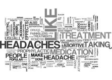 A Wide Array Of Effective Headache Treatments Word Cloud Stock Image