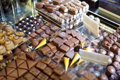 Wide assortment of delicious chocolates, ganaches Stock Image