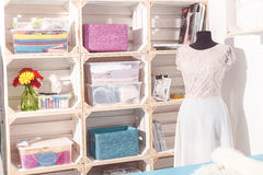 Wide assortment of material in bridal atelier Stock Image