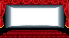 Wide auditorium cinema. Vector illustration of the empty cinema auditorium Royalty Free Stock Photography