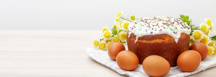 Wide banner with Easter cake and colored eggs yellow flower blossoms on background. Holiday food and easter concept. Copyspase for stock image
