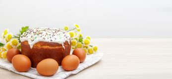 Wide banner with Easter cake and colored eggs yellow flower blossoms on background. Holiday food and easter concept. Copyspase for stock photography