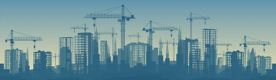 Wide banner illustration of buildings under construction in process Stock Photos