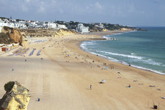 The wide beach at Albufeira in Portugal Royalty Free Stock Photos