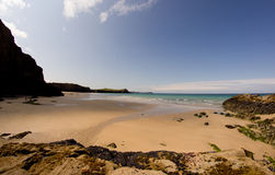 Wide Beach Cornwall. Wide angle beach shot Cornwall Porth area Royalty Free Stock Photo