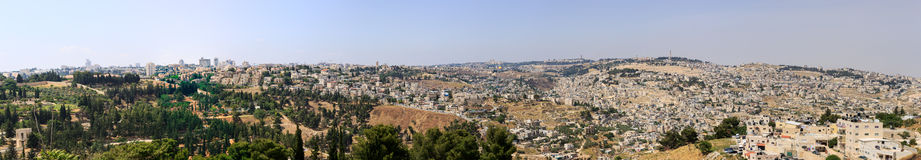 Wide big panorama of Jerusalem from southern side Royalty Free Stock Images
