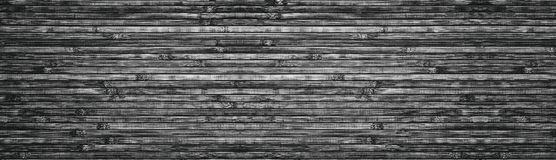 Wide black and white wooden background - bamboo panoramic texture stock images