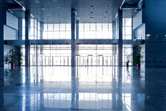 Wide blue hall. Interior office Royalty Free Stock Images