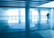 Wide blue hall interior Stock Photo