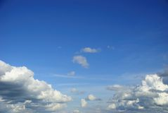 Wide blue sky with white cloud on sunny day Royalty Free Stock Photo