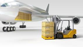Wide-body αεροπλάνο φορτίου και φορτωτής επιβατών αεροσκαφών κοντά τελικό σε τρισδιάστατο διανυσματική απεικόνιση