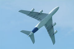 Wide-body airliner from below. Wide-body airliner flying seen from below Royalty Free Stock Images