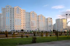Wide boulevard with some new buildings. Ashkhabad. Turkmenistan. Royalty Free Stock Images