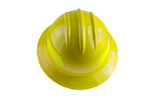 Wide brim safety hardhat. Yellow hardhat with wide brim part of protective equipment stock images