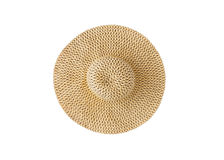 Wide-brimmed straw hat, isolated on white background, close-up.  stock photos