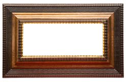 Wide Brown Picture Frame w/ Path Royalty Free Stock Images