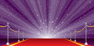 Wide burst purple red. Vector illustration with red carpet and purple star burst, layered and editable royalty free illustration
