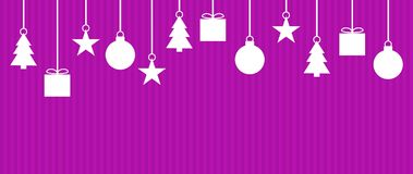 Wide christmas background purple white. Wide background striped purple with Christmas Decoration Stock Photos