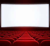 Wide cinema screen and red seats. Wide cinema screen and seats Royalty Free Stock Photos