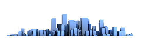 Wide Cityscape Model 3D - Shiny Blue City Stock Images