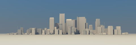 Wide Cityscape Model 3D - Slightly Foggy. Wide 3D cityscape model at daytime with a blue sky in the background and a bit foggy atmosphere - buildings are casting royalty free illustration