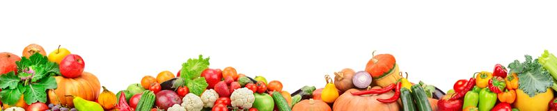 Wide collage of fresh fruits and vegetables for layout isolated royalty free stock photos