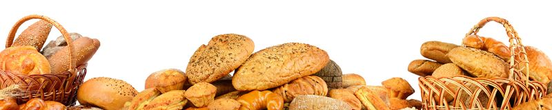 Wide collage freshly baked bread items isolated on white. Background Royalty Free Stock Image