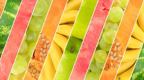 Wide collage of variety fruits and vegetables. royalty free stock photos