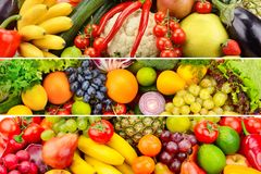 Wide collage of vegetables and fruits stock photo