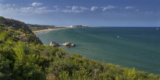 Wide and colorful view of Vieste - Gargano. A beautiful place to visit Stock Image