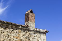 Wide corner roof shot of old masonry building under clear sky. In the city at Turkey Royalty Free Stock Photography