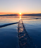 Wide crack in the ice of Lake Baikal Royalty Free Stock Images