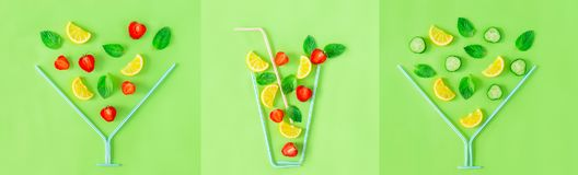 Wide creative banner. Three Strawberry and cucumber lemonade glasses made with straws with falling ingredients on green background. Summer drinks. Minimal food royalty free stock images