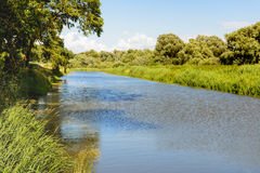 Wide creek in a Dutch National Park Stock Images