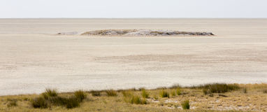 A wide-cropped view of the huge salt pan central to the Etosha Wildlife Reserve in Namibia, at the end of a long, hot, dry period Royalty Free Stock Image