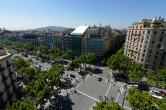 Wide crossroads in the center of Barcelona Stock Images