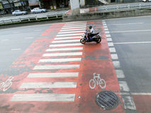 Wide crosswalks were created to minimize vehicle / pedestrian incidents. Bangkok , Thailand Stock Images
