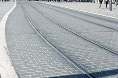 Wide Curvy Tram Tracks Stock Photography