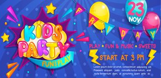 Wide Cute Banner For Kids Party In Cartoon Style. Royalty Free Stock Images