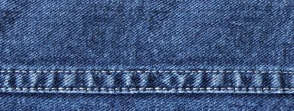 Wide denim banner with jeans decorative seams. Jeans background with copy space stock photos