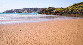 Wide desert sandy beach on the coast of Brittany Royalty Free Stock Images
